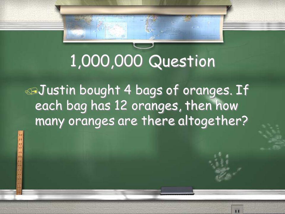 Million Dollar Question Topic MATH
