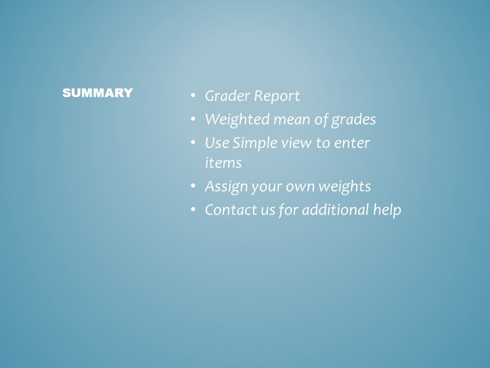 Grader Report Weighted mean of grades Use Simple view to enter items Assign your own weights Contact us for additional help SUMMARY