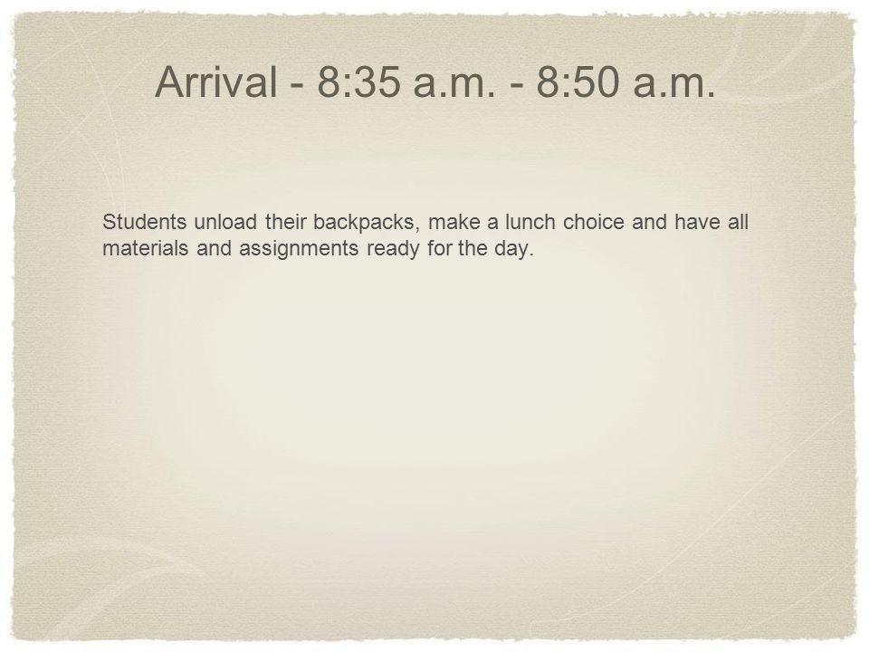 Writing - 8:50 a.m.- 9:50 a.m.