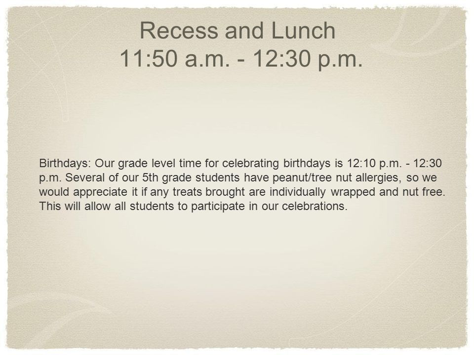 Recess and Lunch 11:50 a.m. - 12:30 p.m.