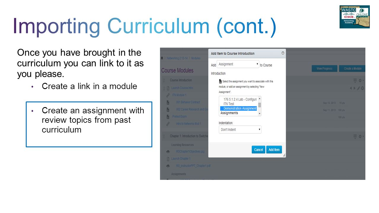 Once you have brought in the curriculum you can link to it as you please.
