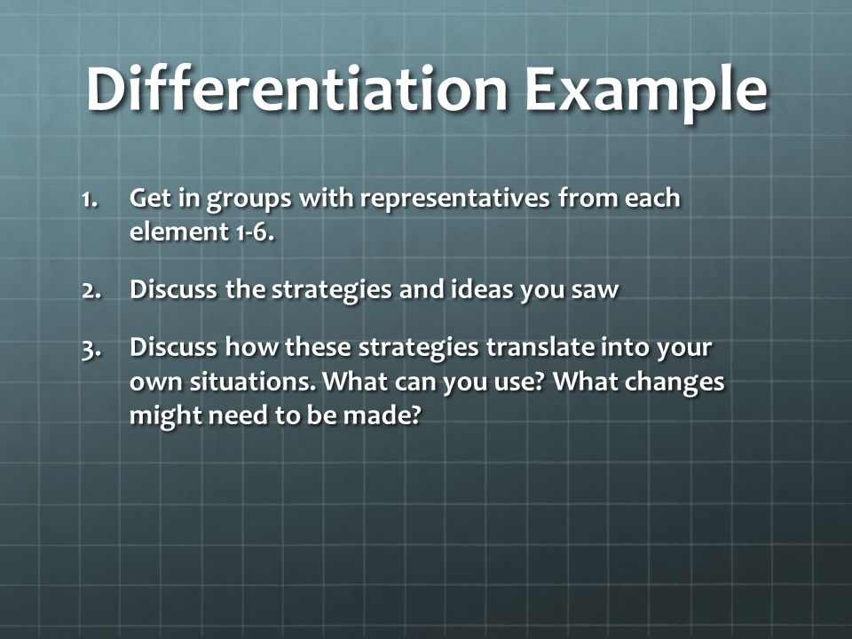 Differentiation Example 1.Get in groups with representatives from each element 1-6.