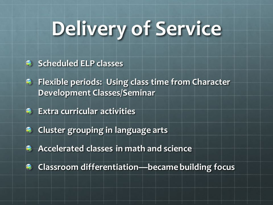 Delivery of Service Scheduled ELP classes Flexible periods: Using class time from Character Development Classes/Seminar Extra curricular activities Cl
