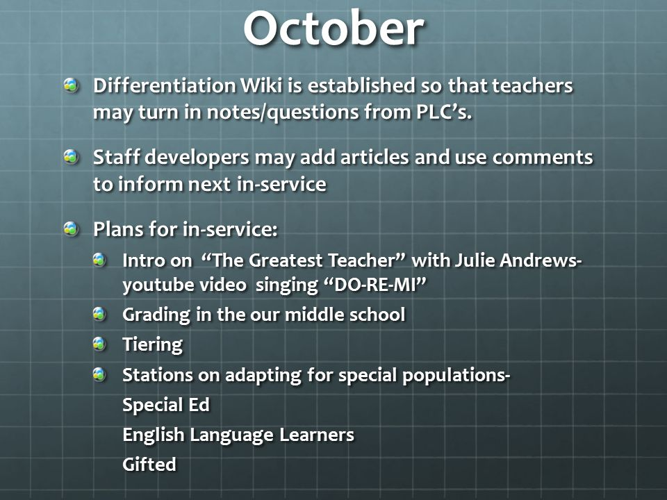 October Differentiation Wiki is established so that teachers may turn in notes/questions from PLC's. Staff developers may add articles and use comment