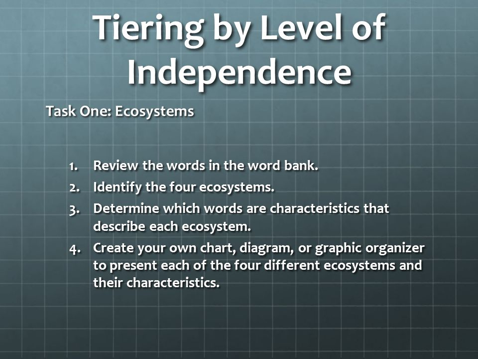 Tiering by Level of Independence Task One: Ecosystems 1.Review the words in the word bank.
