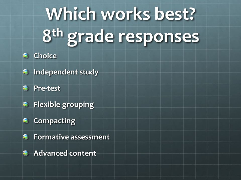 Which works best? 8 th grade responses Choice Independent study Pre-test Flexible grouping Compacting Formative assessment Advanced content