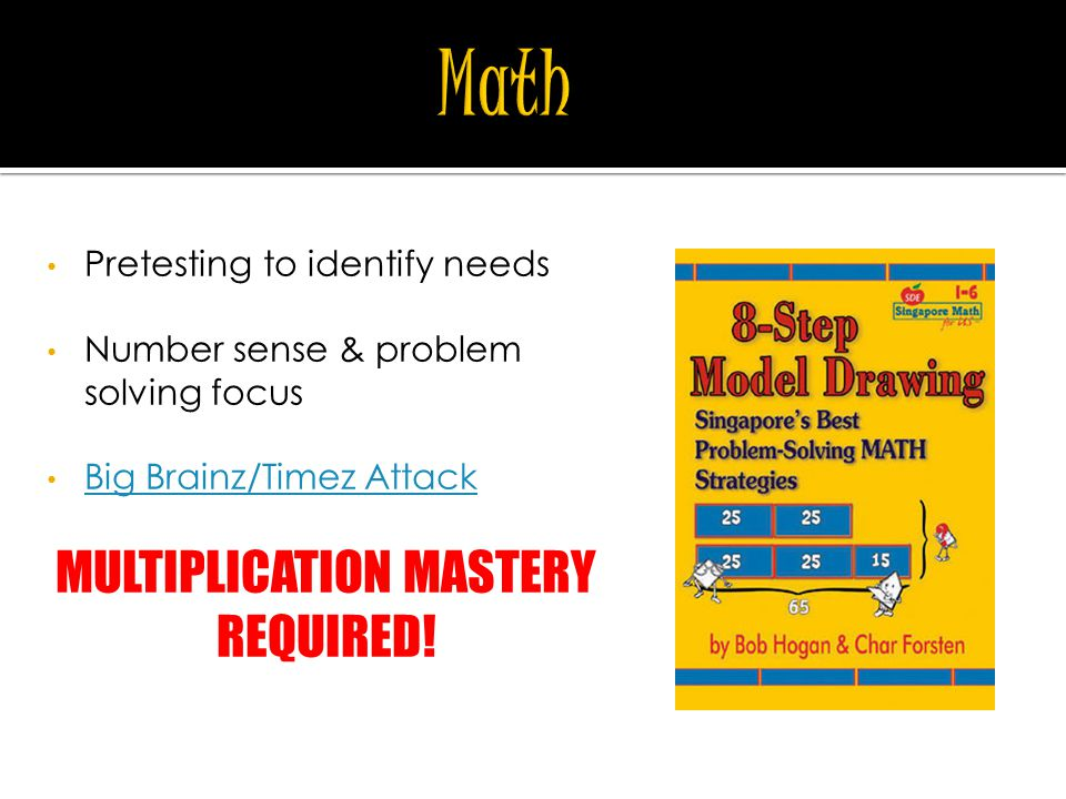 Pretesting to identify needs Number sense & problem solving focus Big Brainz/Timez Attack MULTIPLICATION MASTERY REQUIRED!