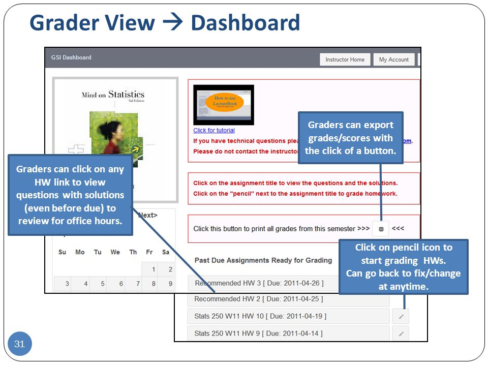 Grader View  Dashboard 31 Graders can click on any HW link to view questions with solutions (even before due) to review for office hours.