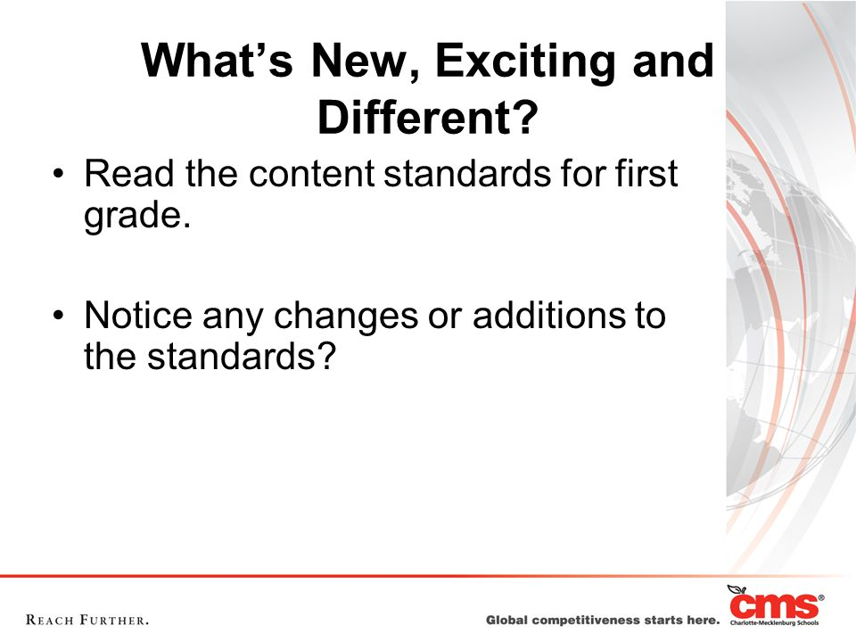 What's New, Exciting and Different. Read the content standards for first grade.