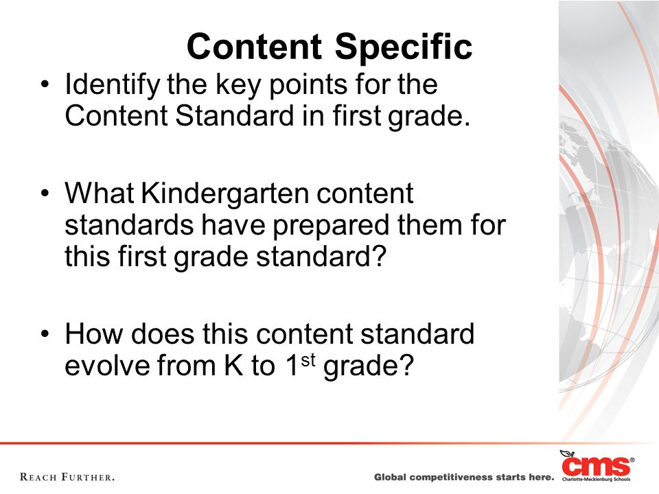 Content Specific Identify the key points for the Content Standard in first grade.