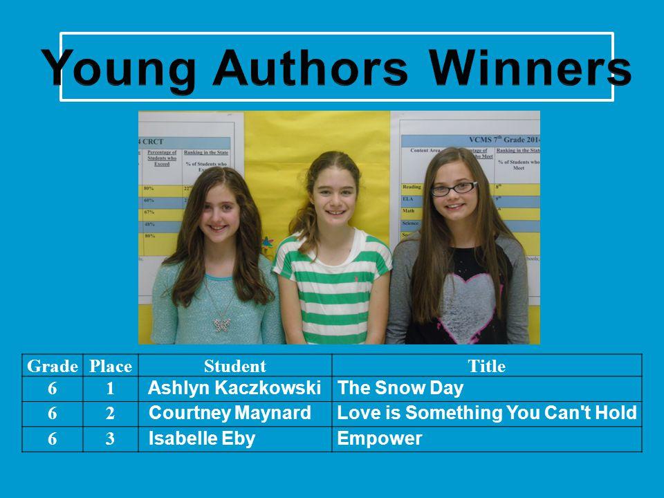 GradePlaceStudentTitle 61 Ashlyn KaczkowskiThe Snow Day 62 Courtney MaynardLove is Something You Can't Hold 63 Isabelle Eby Empower