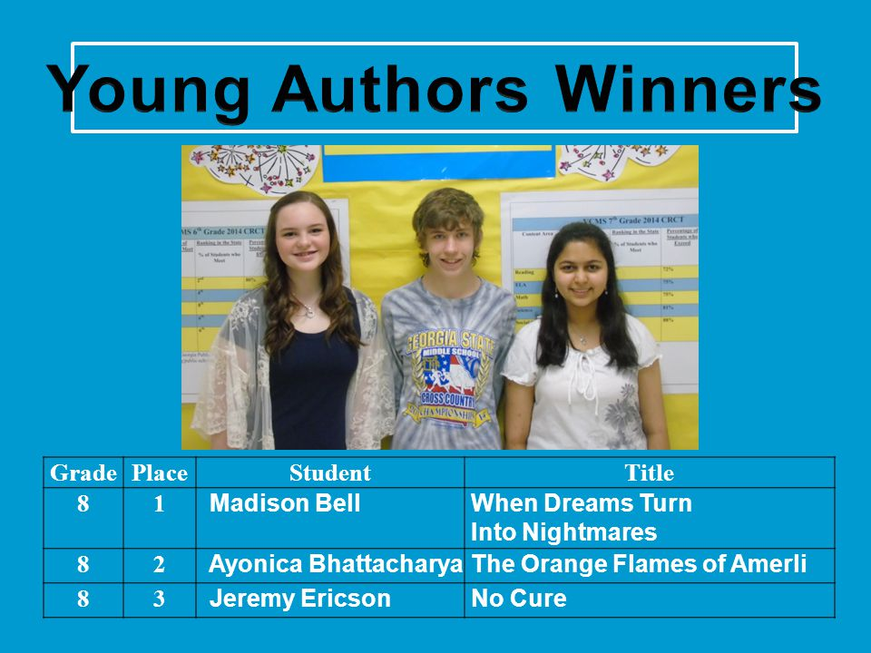 GradePlaceStudentTitle 81 Madison BellWhen Dreams Turn Into Nightmares 82 Ayonica BhattacharyaThe Orange Flames of Amerli 83 Jeremy EricsonNo Cure