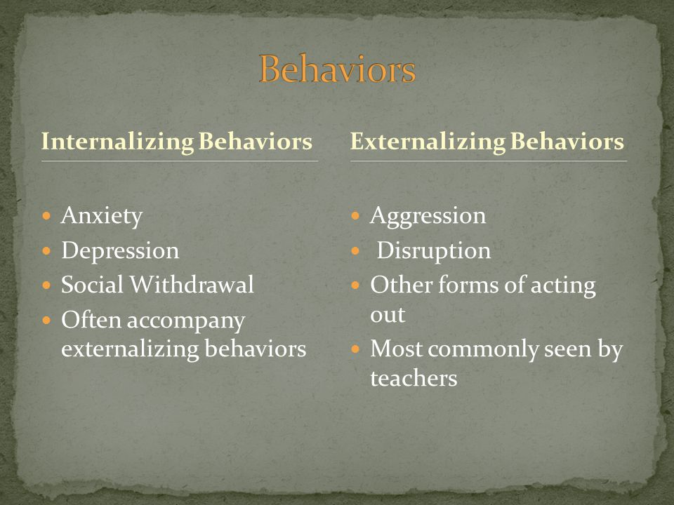 Internalizing Behaviors Anxiety Depression Social Withdrawal Often accompany externalizing behaviors Aggression Disruption Other forms of acting out Most commonly seen by teachers Externalizing Behaviors