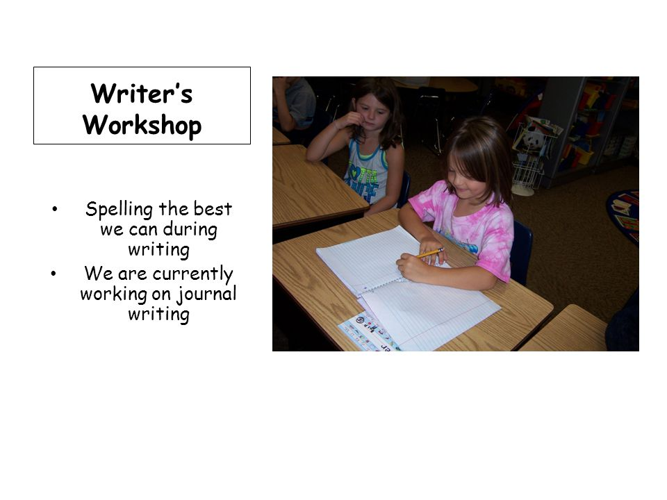 Writer's Workshop Spelling the best we can during writing We are currently working on journal writing