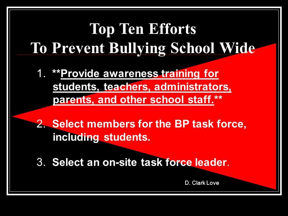 Top Ten Efforts To Prevent Bullying School Wide 1.