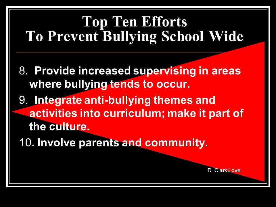 D. Clark Love Top Ten Efforts To Prevent Bullying School Wide 8.