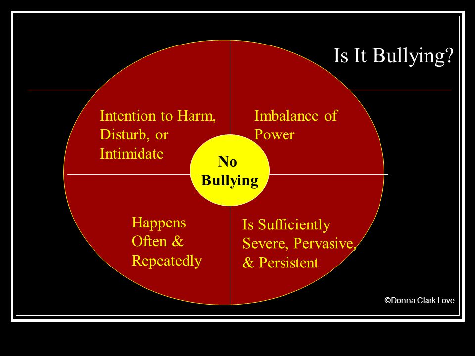 Intention to Harm, Disturb, or Intimidate Imbalance of Power Happens Often & Repeatedly Is Sufficiently Severe, Pervasive, & Persistent Is It Bullying.