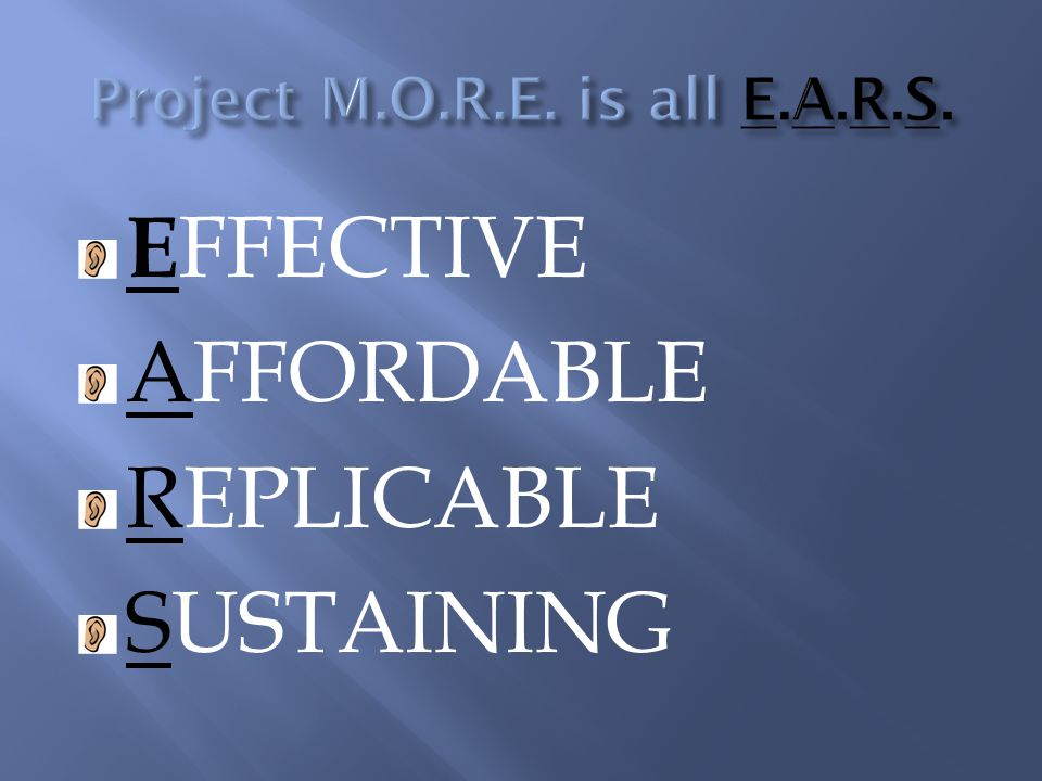 E FFECTIVE AFFORDABLE REPLICABLE SUSTAINING