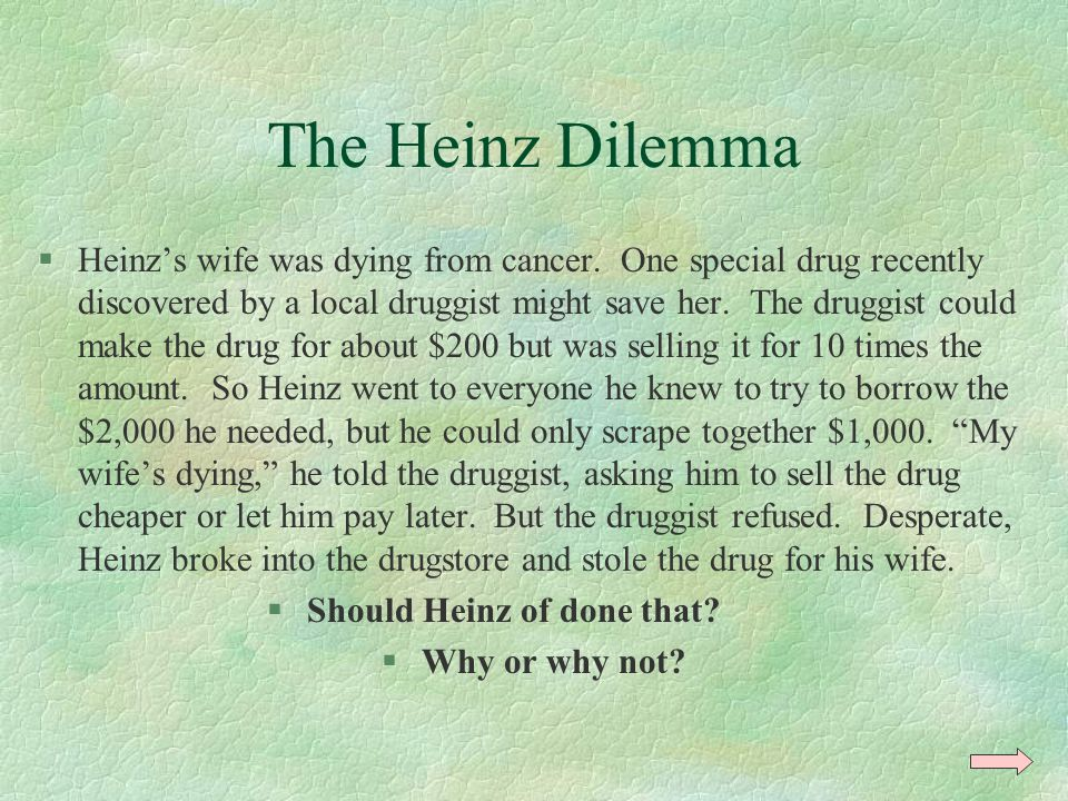 The Heinz Dilemma §Heinz's wife was dying from cancer.