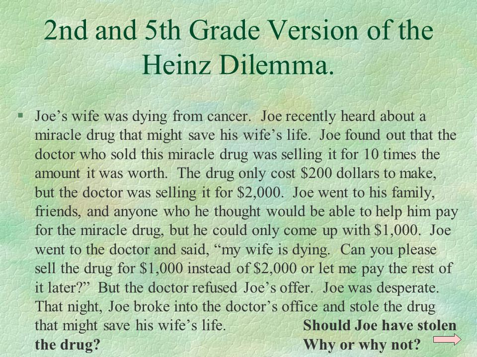 2nd and 5th Grade Version of the Heinz Dilemma. §Joe's wife was dying from cancer. Joe recently heard about a miracle drug that might save his wife's