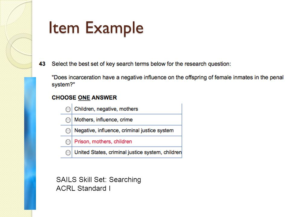 Item Example SAILS Skill Set: Searching ACRL Standard I