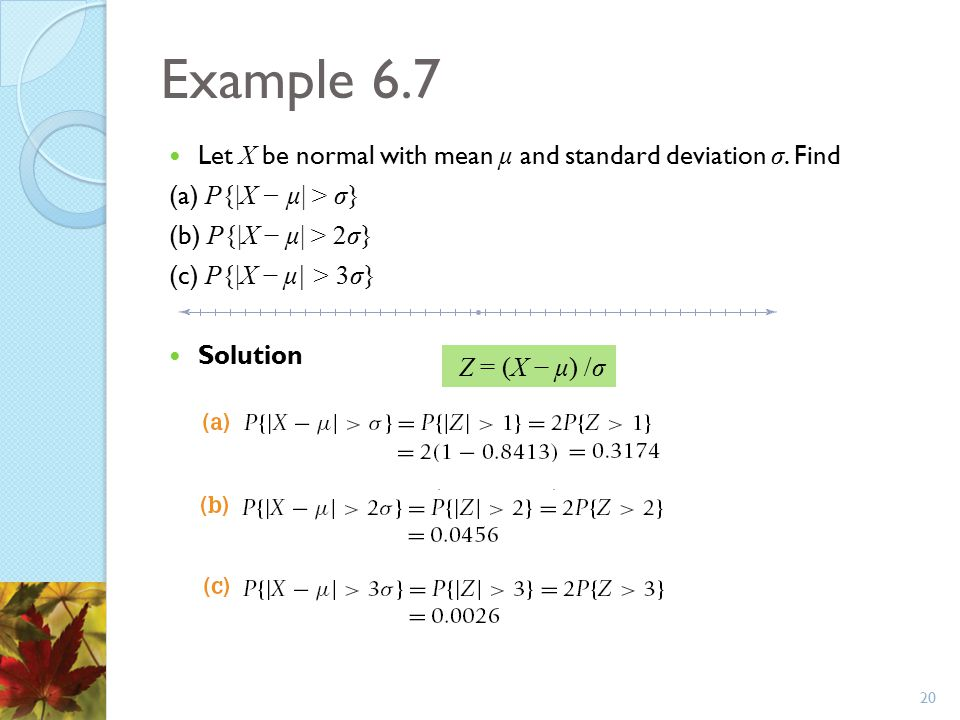 Example 6.7 Let X be normal with mean μ and standard deviation σ. Find (a) P{|X − μ| > σ} (b) P{|X − μ| > 2σ} (c) P{|X − μ| > 3σ} Solution 20 Z = (X −