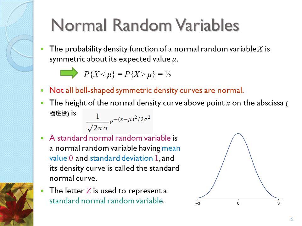 Normal Random Variables The probability density function of a normal random variable X is symmetric about its expected value μ. P{X μ} = ½ Not all bel