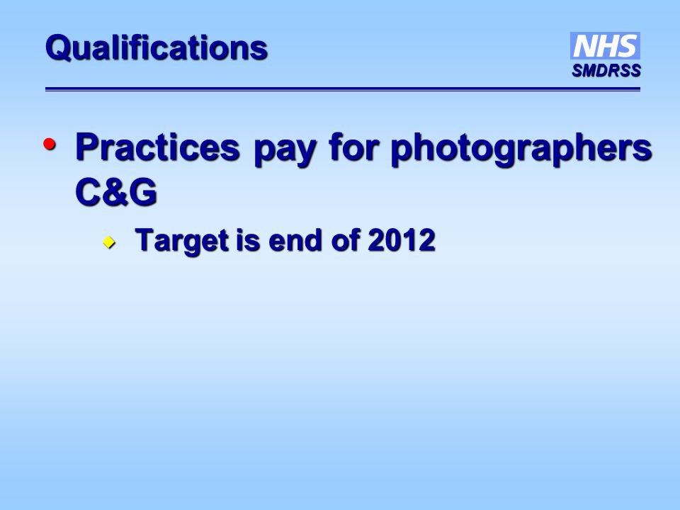 SMDRSS Qualifications Practices pay for photographers C&G Practices pay for photographers C&G  Target is end of 2012