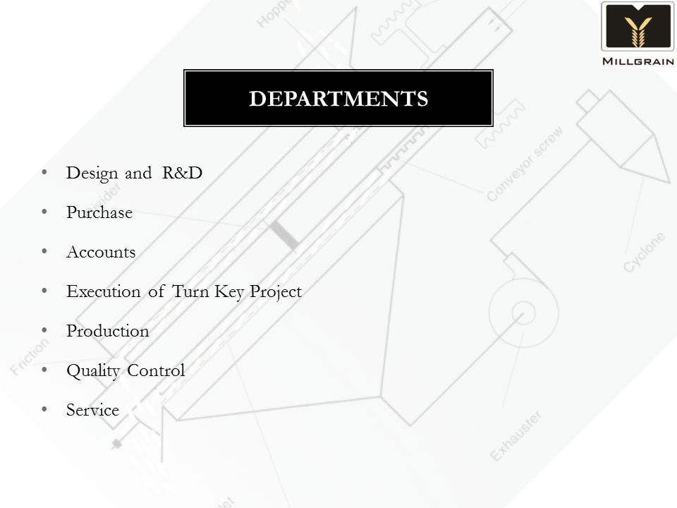 Design and R&D Purchase Accounts Execution of Turn Key Project Production Quality Control Service DEPARTMENTS