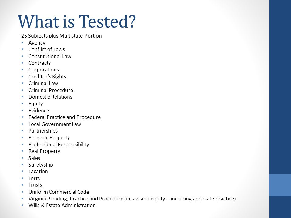 What is Tested.