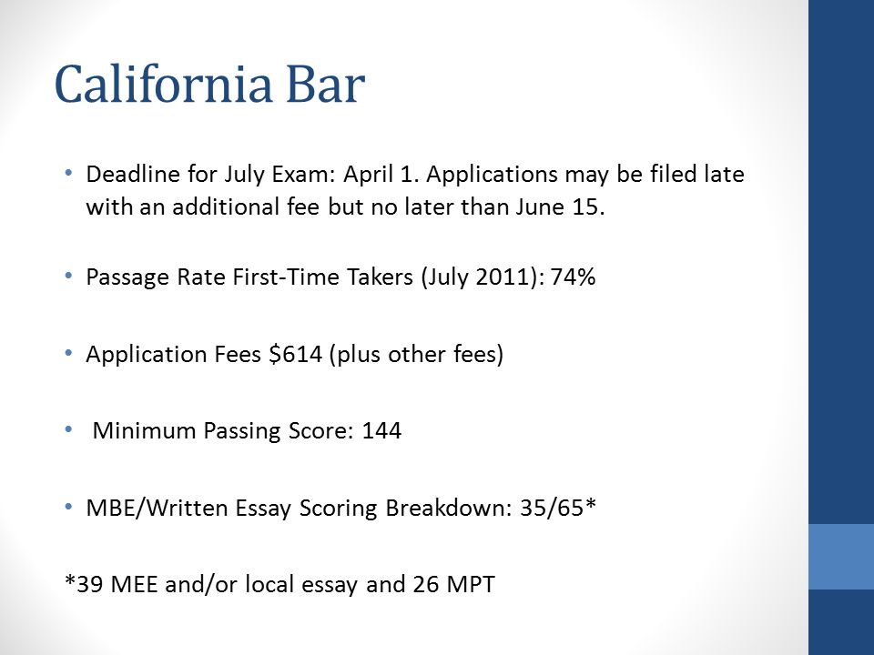 California Bar Deadline for July Exam: April 1.