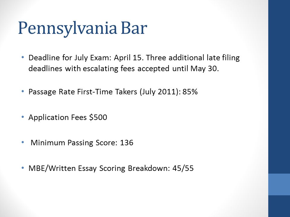 Pennsylvania Bar Deadline for July Exam: April 15.
