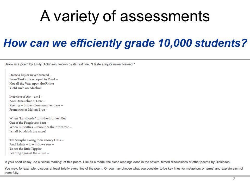 Model PG 1 True score of student u Grader reliability of student v Student v's assessment of student u (observed) Grader bias of student v Modeling grader bias and reliability [Whitehill et al.