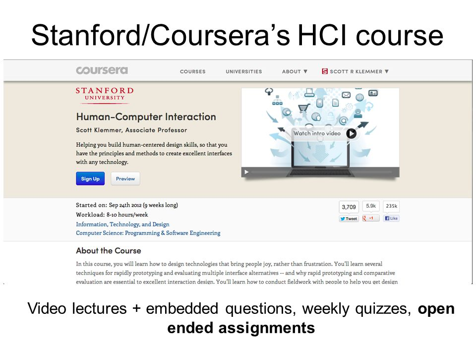 Video lectures + embedded questions, weekly quizzes, open ended assignments Stanford/Coursera's HCI course