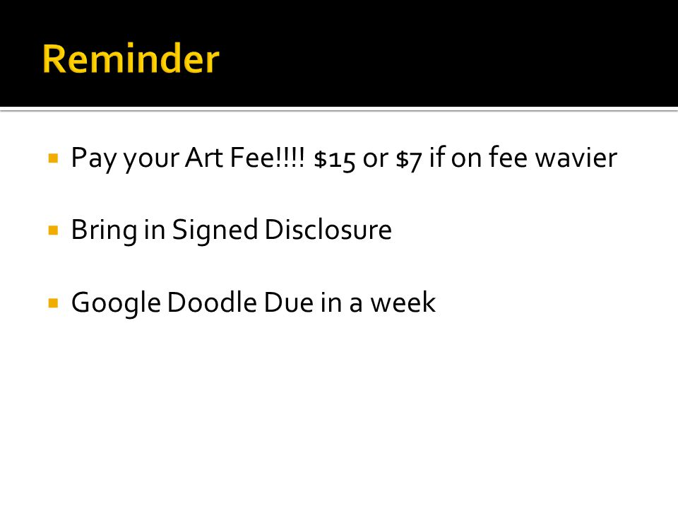  Pay your Art Fee!!!.