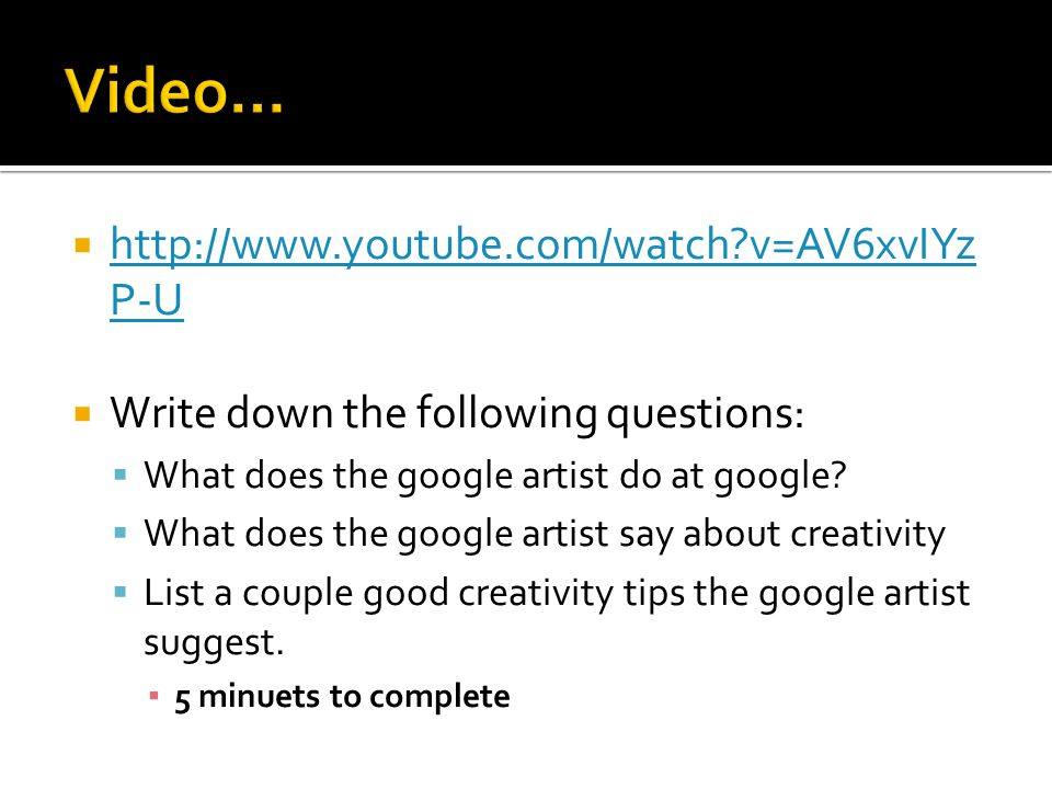  To get full points today my expectation for you are:  Working diligently on your Google Doodle Rough Draft.