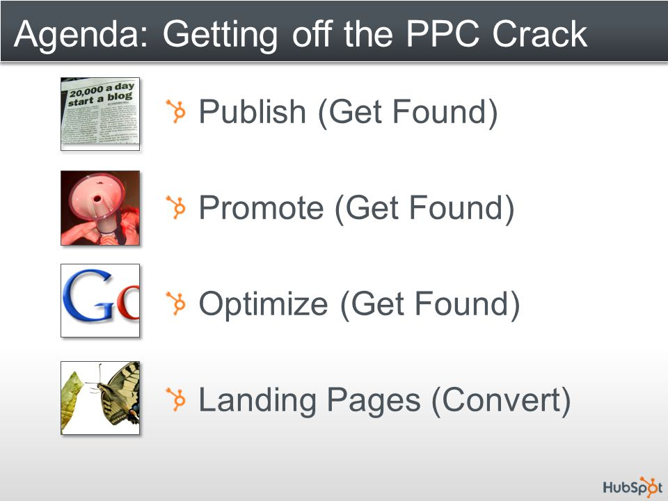 Agenda: Getting off the PPC Crack Publish (Get Found) Promote (Get Found) Optimize (Get Found) Landing Pages (Convert)