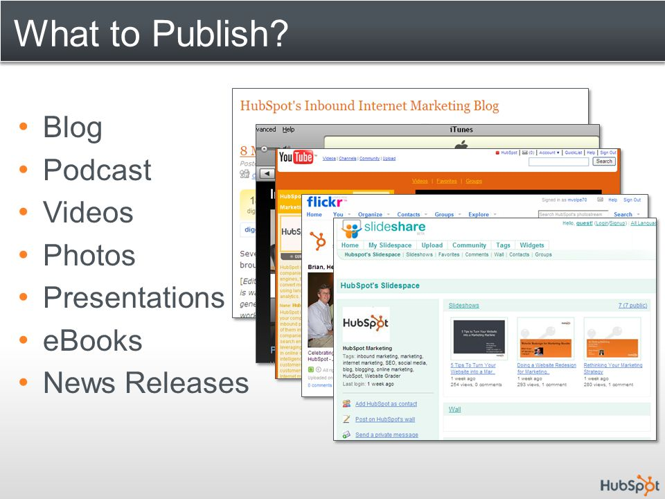 What to Publish Blog Podcast Videos Photos Presentations eBooks News Releases