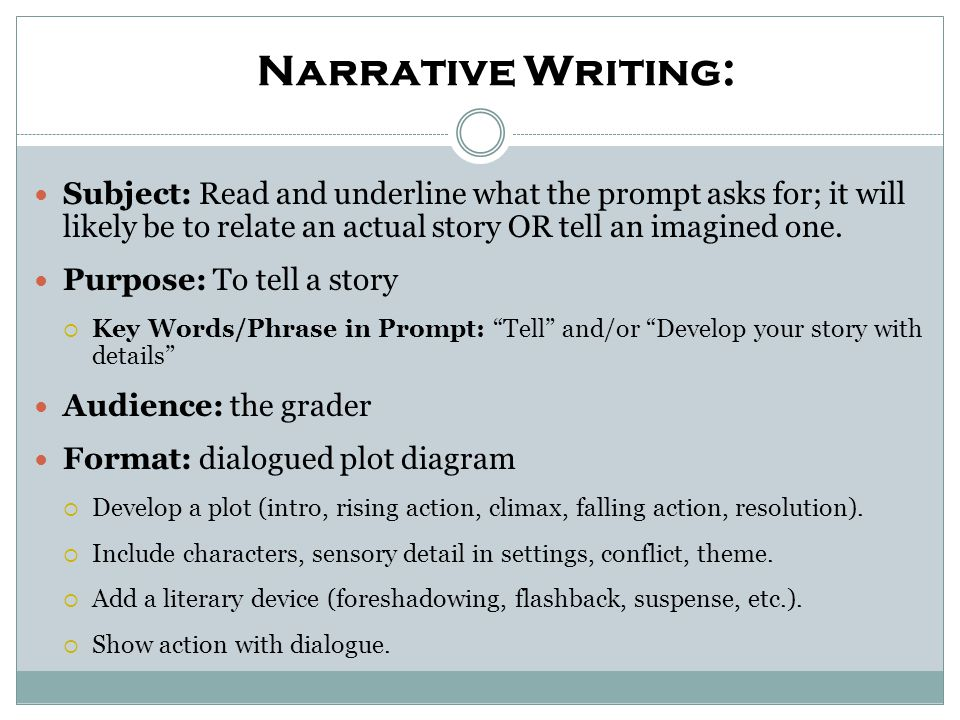 Expository Writing: Subject: Read and underline what the prompt asks for.
