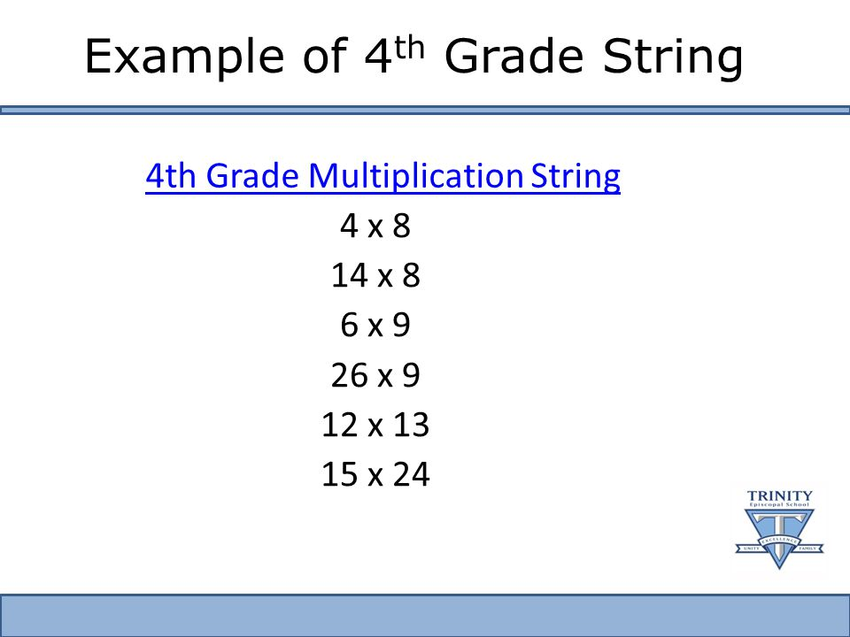 Example of 4 th Grade String 4 x 8 14 x 8 6 x 9 26 x 9 12 x 13 15 x 24 4th Grade Multiplication String