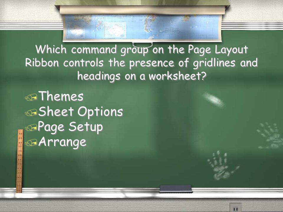 Which command group on the Page Layout Ribbon controls the presence of gridlines and headings on a worksheet.