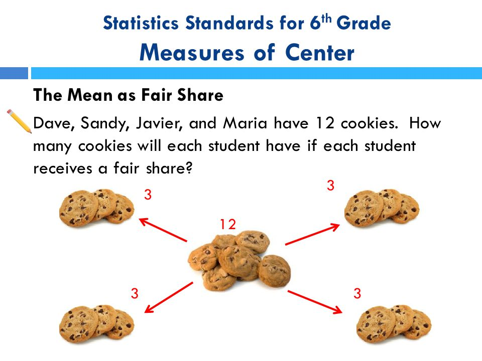Statistics Standards for 6 th Grade Measures of Center The Mean as Fair Share Dave, Sandy, Javier, and Maria have 12 cookies. How many cookies will ea