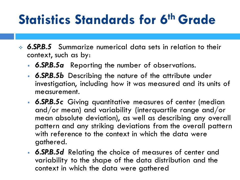Statistics Standards for 6 th Grade Types of Graphs Categories Gaps No Gaps