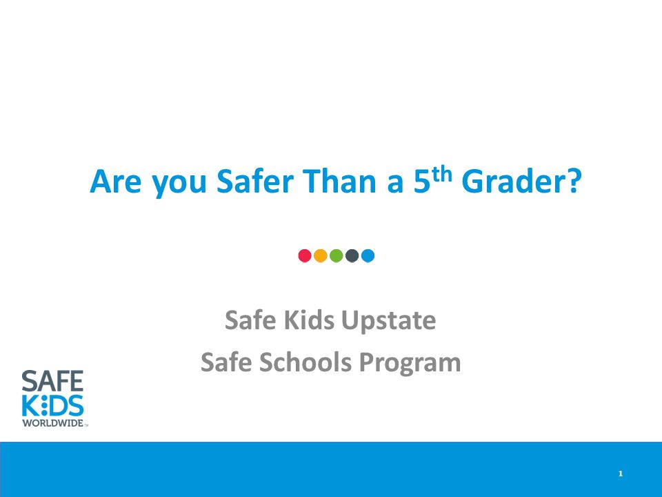 Are you Safer Than a 5 th Grader? Safe Kids Upstate Safe Schools Program 1
