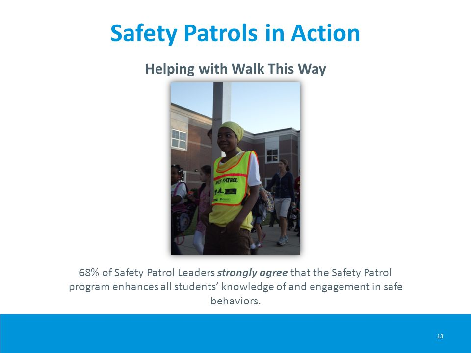 Safety Patrols in Action Helping with Walk This Way 13 68% of Safety Patrol Leaders strongly agree that the Safety Patrol program enhances all student