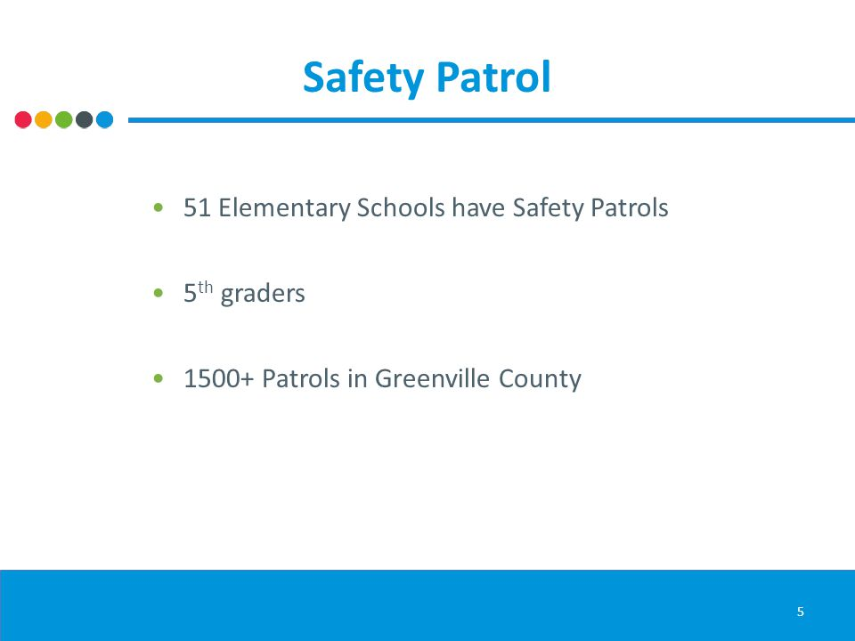 Safety Patrol 5 51 Elementary Schools have Safety Patrols 5 th graders 1500+ Patrols in Greenville County