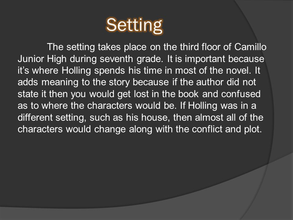 The setting takes place on the third floor of Camillo Junior High during seventh grade.