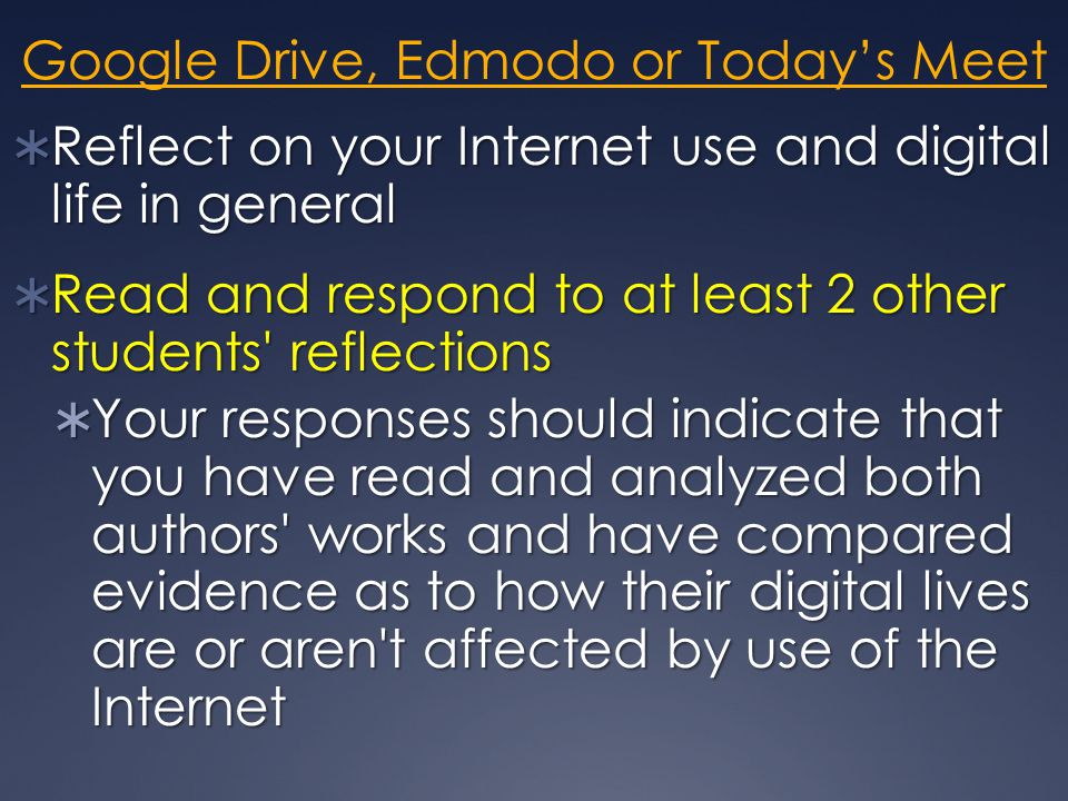 Google Drive, Edmodo or Today's Meet  Reflect on your Internet use and digital life in general  Read and respond to at least 2 other students reflections  Your responses should indicate that you have read and analyzed both authors works and have compared evidence as to how their digital lives are or aren t affected by use of the Internet