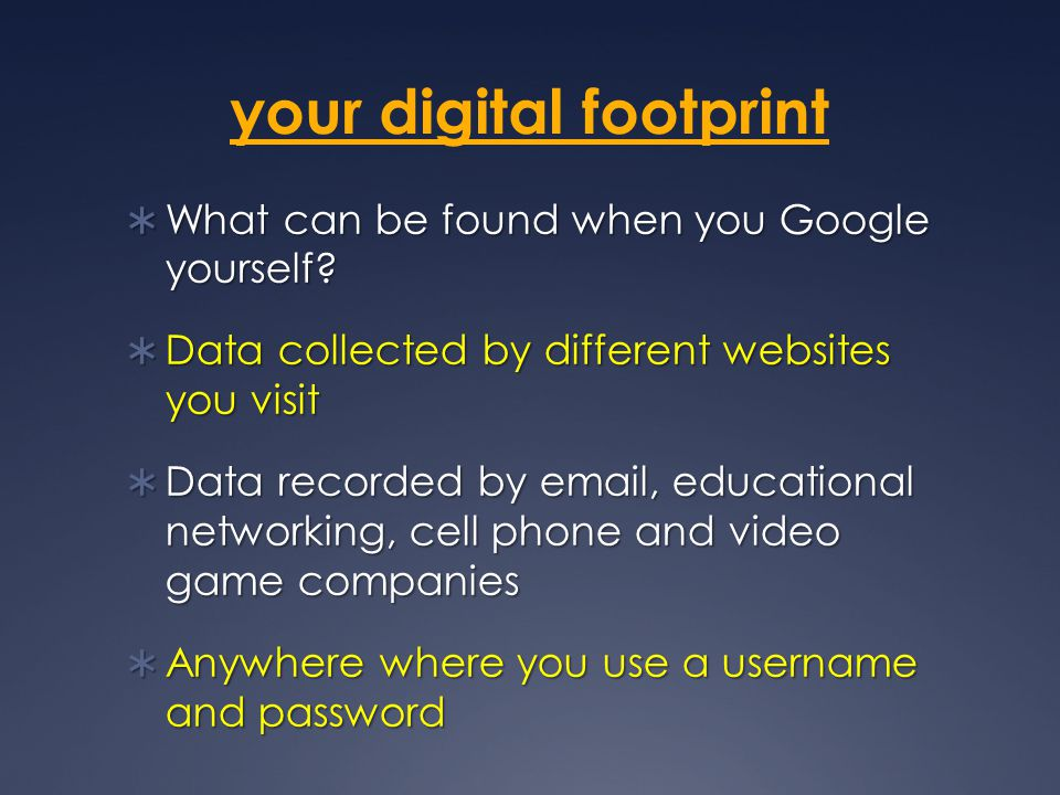 your digital footprint  What can be found when you Google yourself.