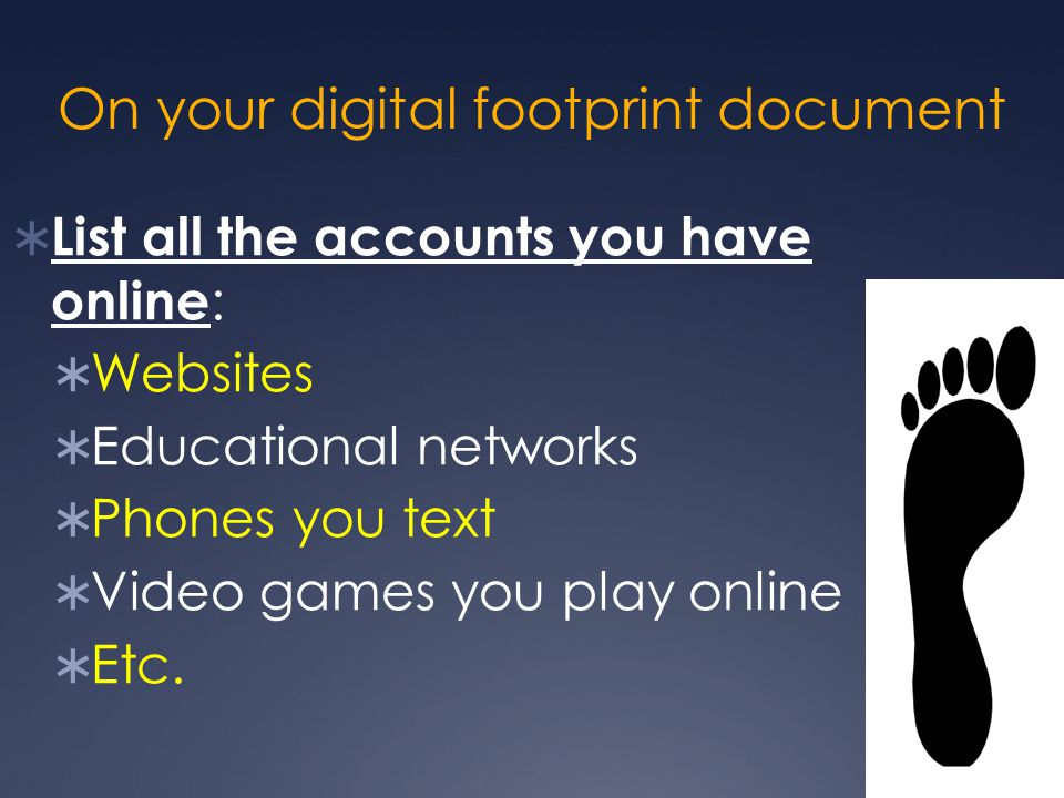 On your digital footprint document  List all the accounts you have online :  Websites  Educational networks  Phones you text  Video games you play online  Etc.